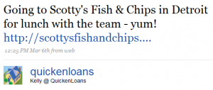 kelly tweets 2 300x127 Twitter and Quicken Loans: Twarketing Case Study #2 (Audio)