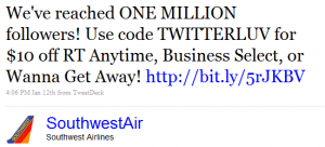 Southwestair 1mil 300x136 1 Million Twitter Follower Milestone For SouthWest Airlines