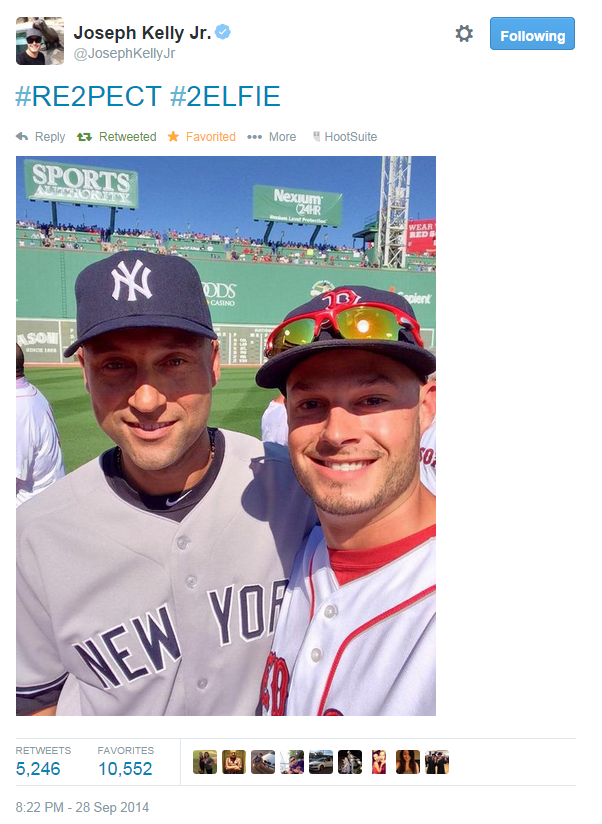 Jeter Selfie2014 Derek Jeters Last Selfie in New York Yankees Uniform